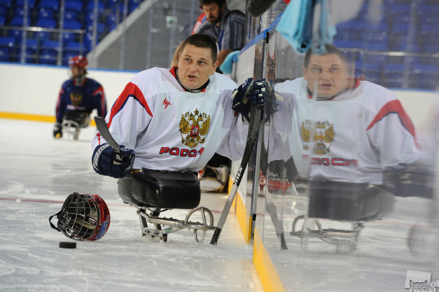 A sledge hockey player