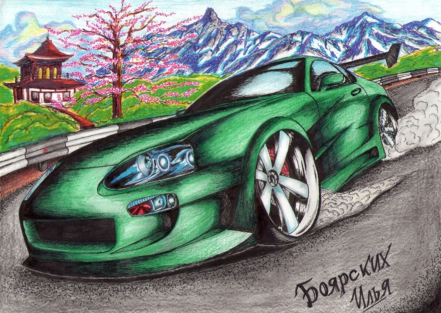 Excellent pencil drawing of cars by 15-year-old boy from Russia - 01