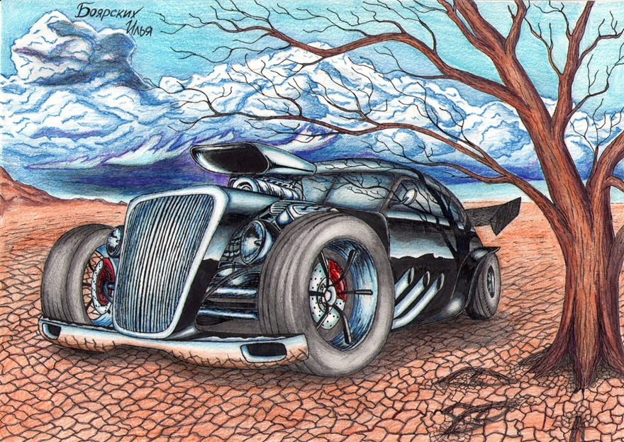Excellent pencil drawing of cars by 15-year-old boy from Russia - 03