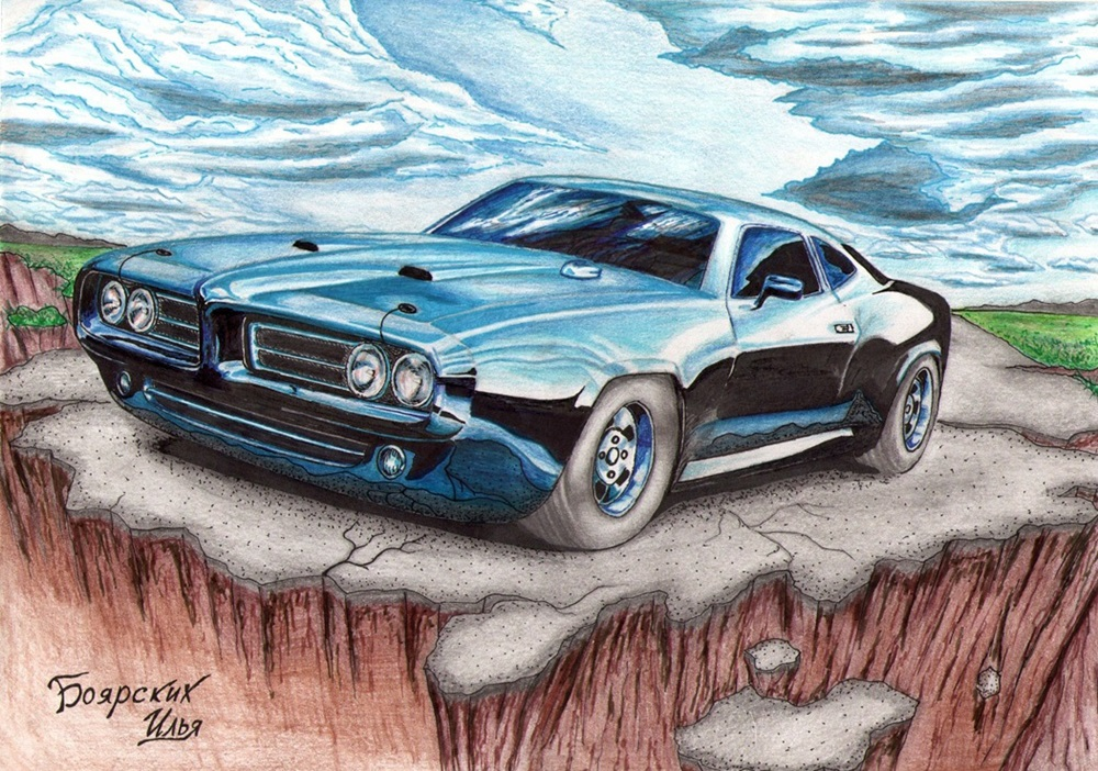Excellent pencil drawing of cars by 15-year-old boy from Russia - 04