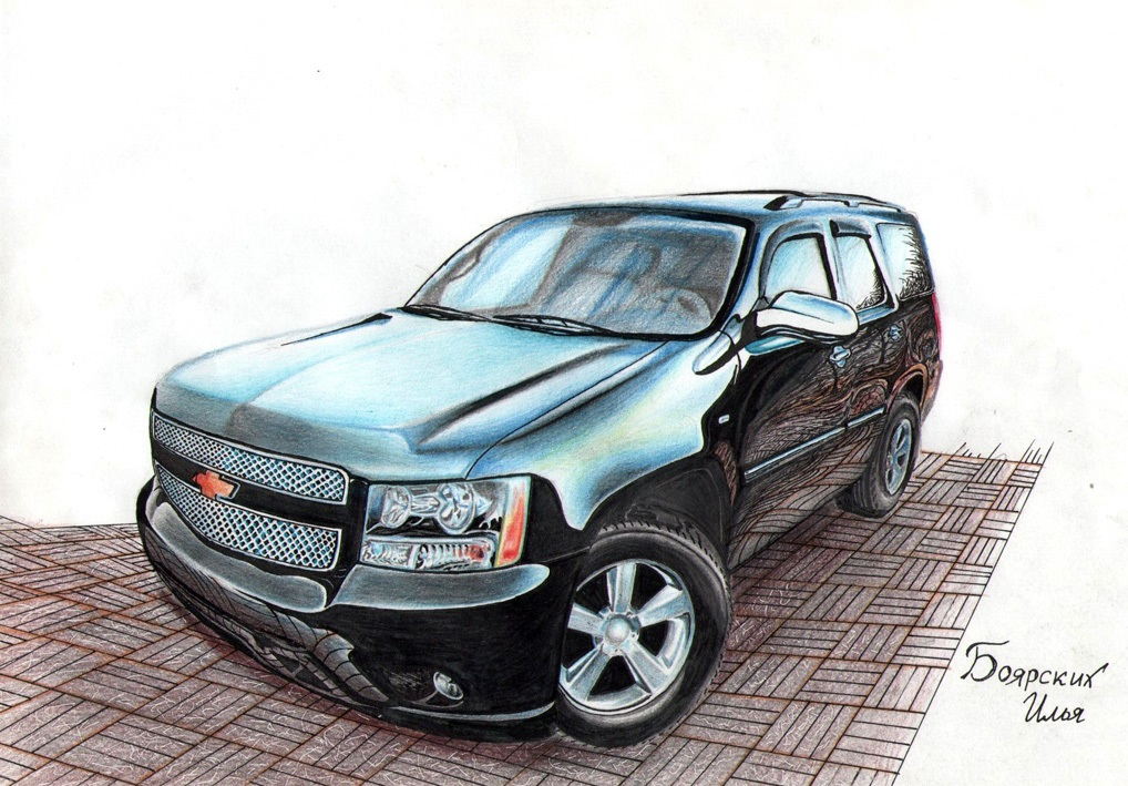 Excellent pencil drawing of cars by 15-year-old boy from Russia - 05