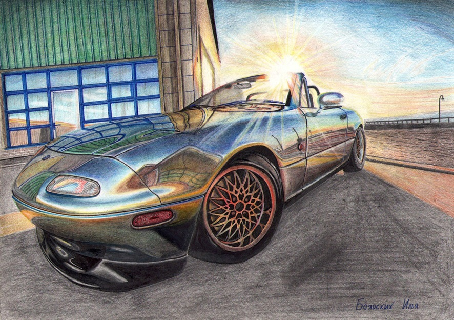Excellent pencil drawing of cars by 15-year-old boy from Russia - 07