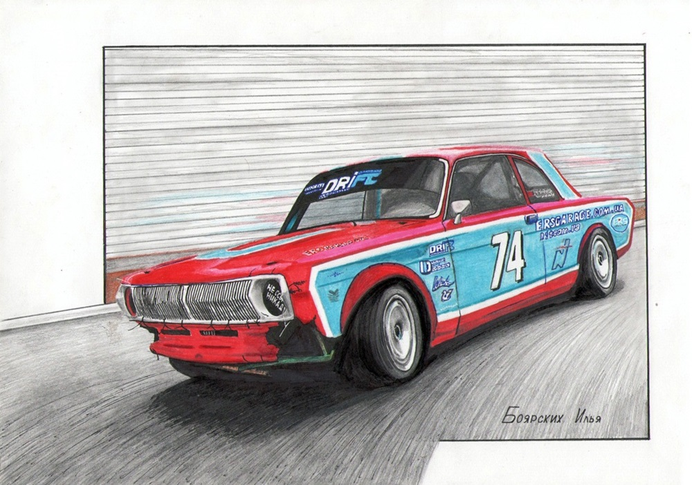 Excellent pencil drawing of cars by 15-year-old boy from Russia - 08