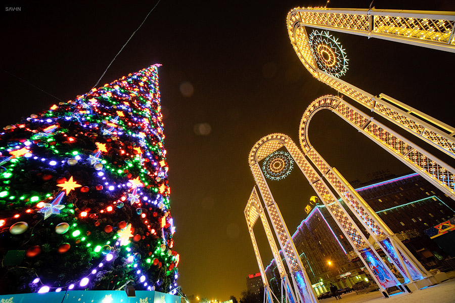 Night Moscow: Brilliant lights of the winter capital city of Russia - 30