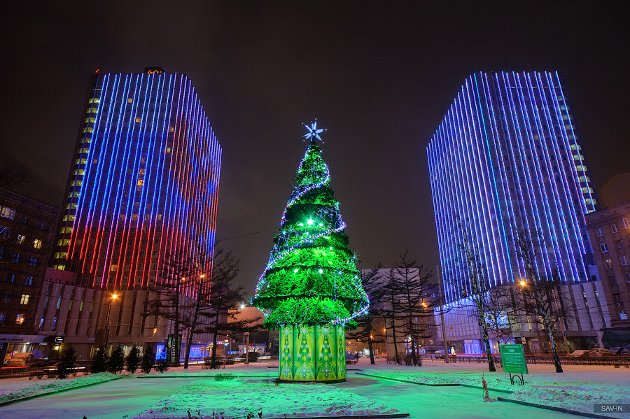 Night Moscow: Brilliant lights of the winter capital city of Russia - 31