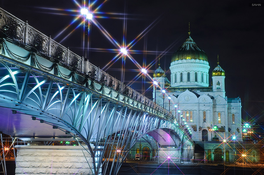 Night Moscow: Brilliant lights of the winter capital city of Russia - 44