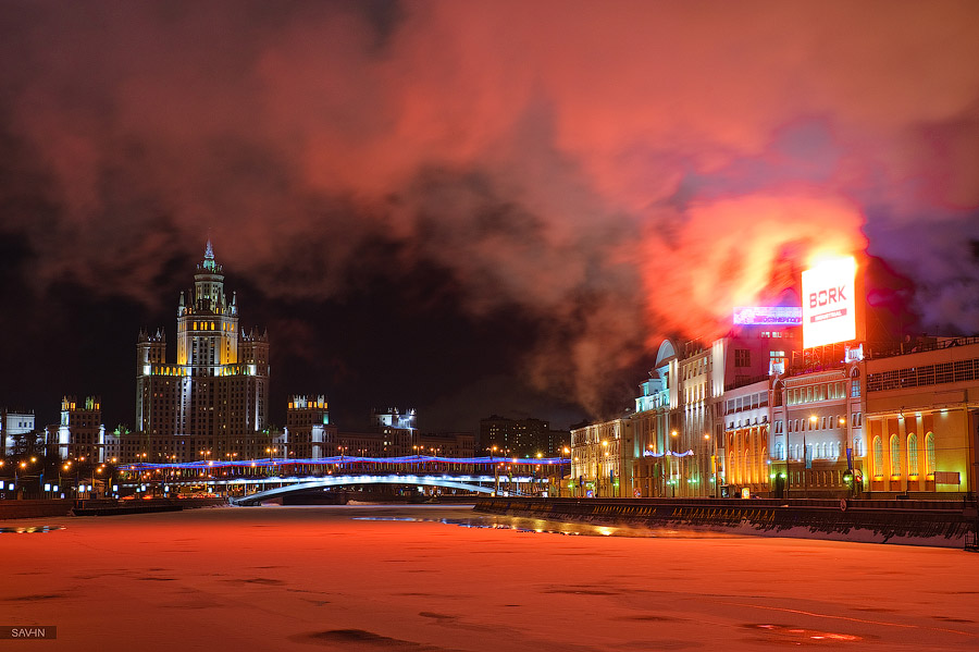 Night Moscow: Brilliant lights of the winter capital city of Russia - 53