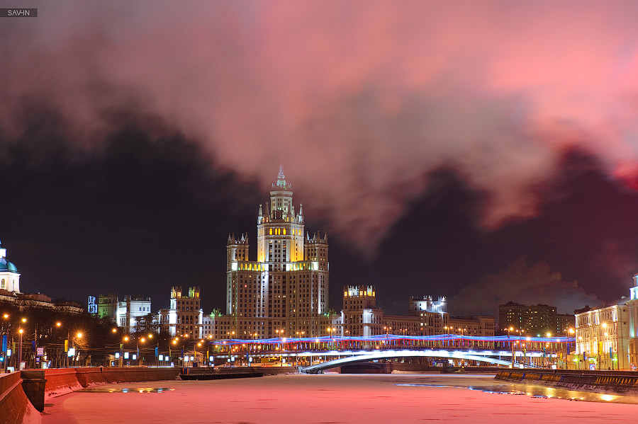 Night Moscow: Brilliant lights of the winter capital city of Russia - 54