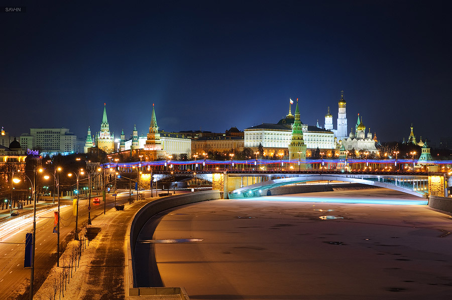 Night Moscow: Brilliant lights of the winter capital city of Russia - 55