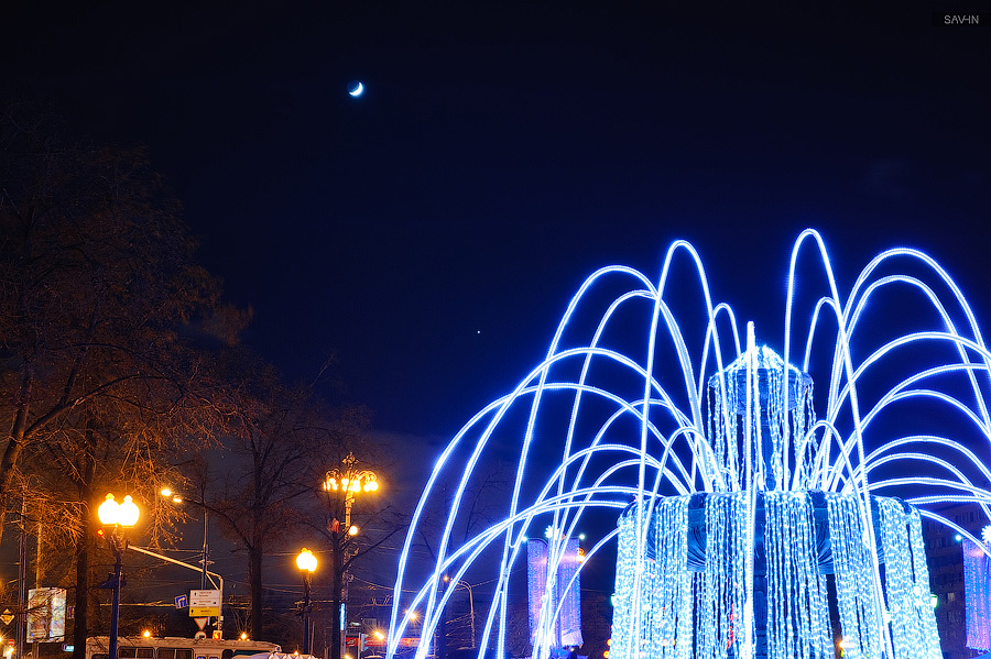 Night Moscow: Brilliant lights of the winter capital city of Russia - 06
