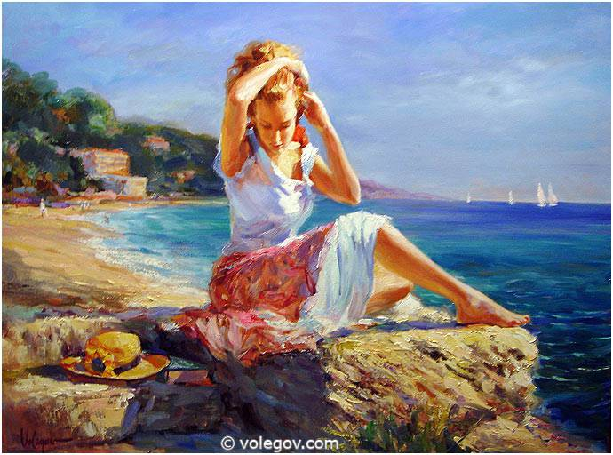 Sensitive images: Women by a Russian painter Vladimir Volegov - 01