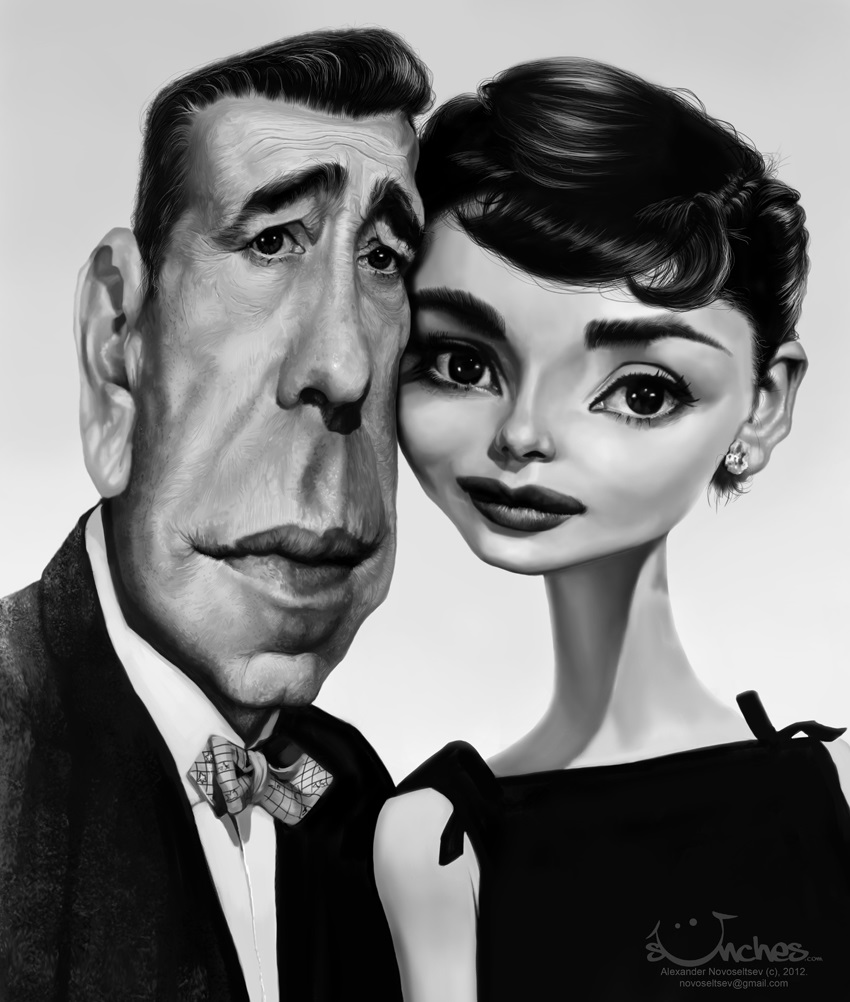 Humphrey Bogart and Audrey Hepburn