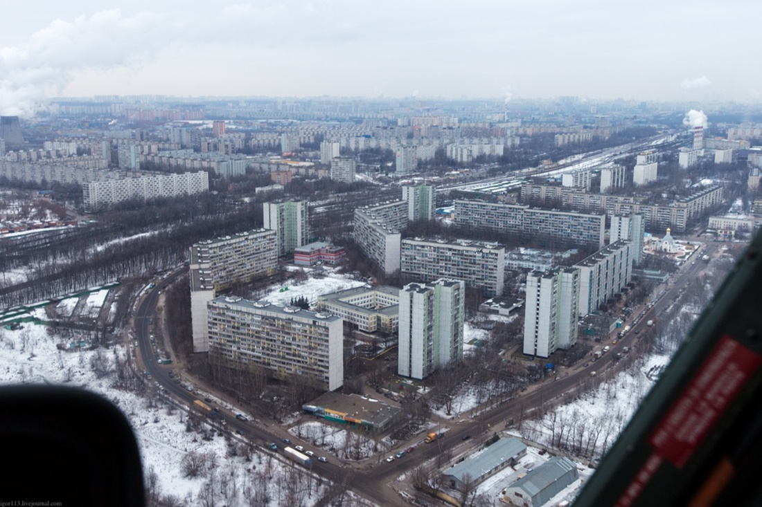 Flying around a suburban area of Moscow - 01