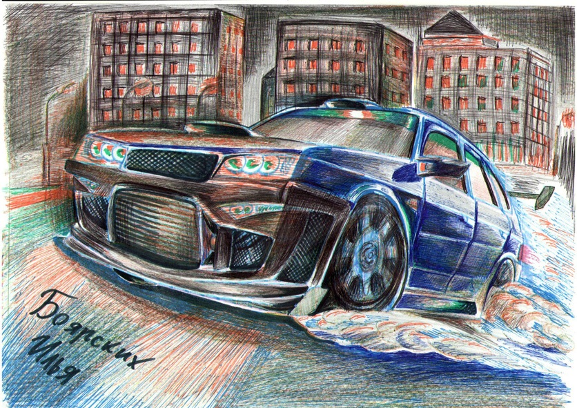 Excellent pencil drawing of cars by 15-year-old boy from Russia - 02