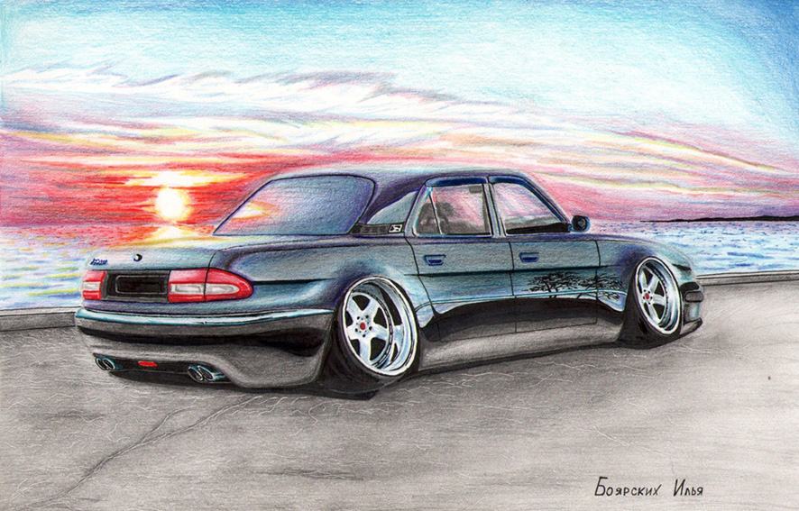 Excellent pencil drawing of cars by 15-year-old boy from Russia - 06