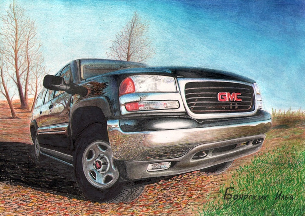 Excellent pencil drawing of cars by 15-year-old boy from Russia - 09