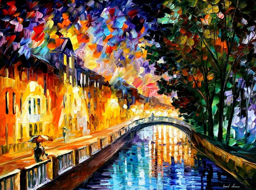 Urban landscapes drawing by Belarusian artist Leonid Afremov - 01