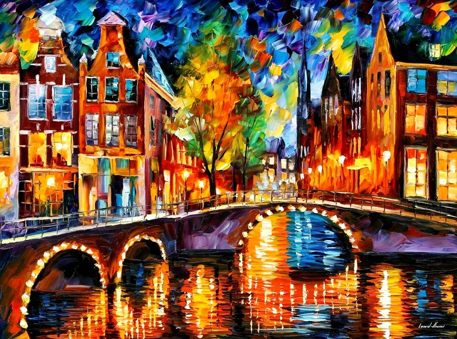 Urban landscapes drawing by Belarusian artist Leonid Afremov - 13