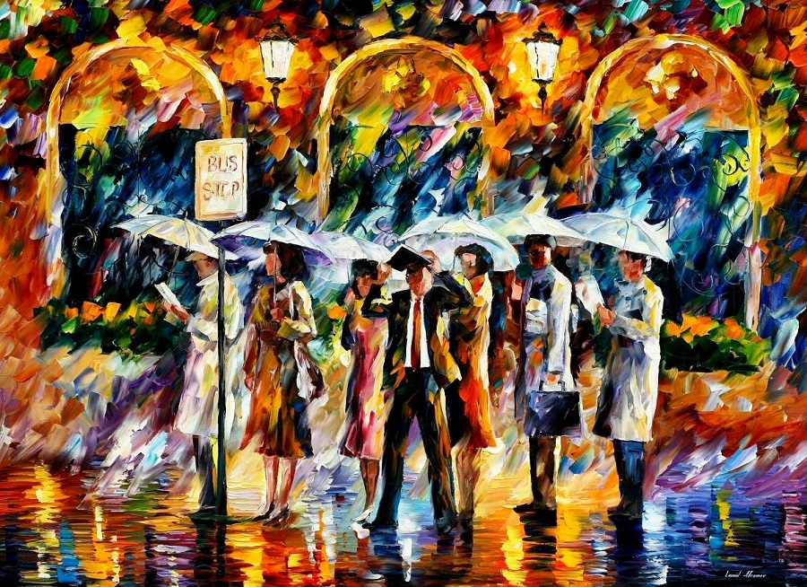 Urban landscapes drawing by Belarusian artist Leonid Afremov - 07
