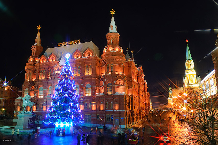 Night Moscow: Brilliant lights of the winter capital city of Russia - 19