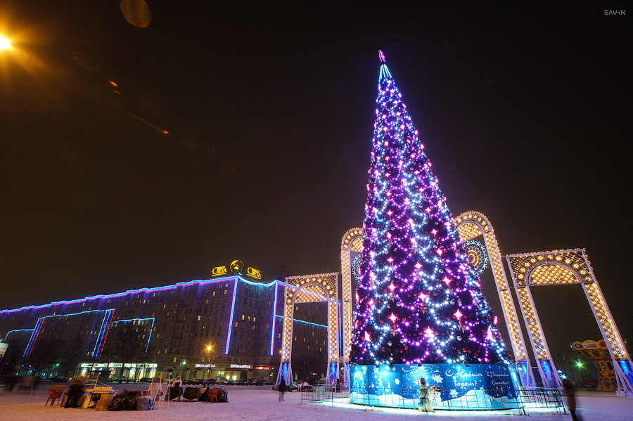 Night Moscow: Brilliant lights of the winter capital city of Russia - 29