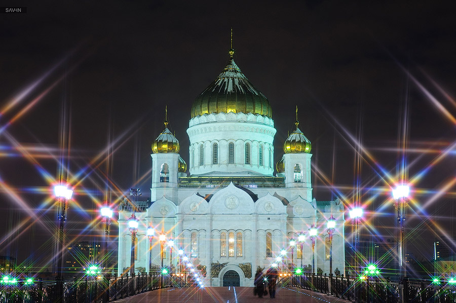 Night Moscow: Brilliant lights of the winter capital city of Russia - 45